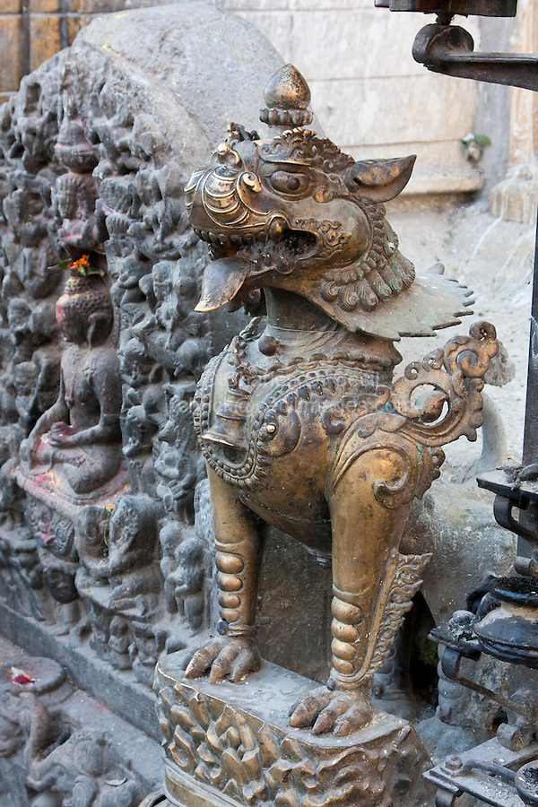 Kathmandu, Nepal.  Swayambhunath Temple Sculpture, Mythical Figure.