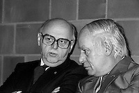 January 9, 1984 File Photo -  Jean Drapeau, Montreal Mayor (L) and Rene Levesque, Quebec Premier (R) attend the inauguration of the 3 new metro (subway) station : <br /> Namur, De La Savane and Du College.