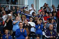 Kansas City, Kansas - Saturday April 16, 2016: FC Kansas City fans cheer against Western New York Flash at Children's Mercy Park. Western New York won 1-0.