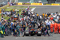 18th July 2021; Silverstone Circuit, Silverstone, Northamptonshire, England; Formula One British Grand Prix, Race Day; Red Bull Racing Honda driver Max Verstappen arrives onto the grid