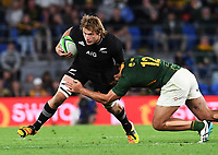 2nd October 2021, Cbus Super Stadium, Gold Coast, Queensland, Australia;   Ethan Blackadder is tackled by de Allende. New Zealand All Blacks versus South Africa Springboks.The Rugby Championship. Rugby Union test match.