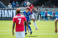 SAN JOSE, CA - APRIL 24: Eduardo Lopez #9 of the San Jose Earthquakes heads the ball during a game between FC Dallas and San Jose Earthquakes at PayPal Park on April 24, 2021 in San Jose, California.