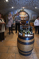 bottles in the tasting room people tasting dom h & g buisson st romain cote de beaune burgundy france