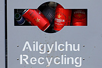 Pictured: Estrella cans of lager in a recycling bin in Mumbles. Friday 16 April 2021<br /> Re: People enjoy an evening out after Covid-19 lockdown rules were relaxed, in Swansea Bay, Wales, UK.