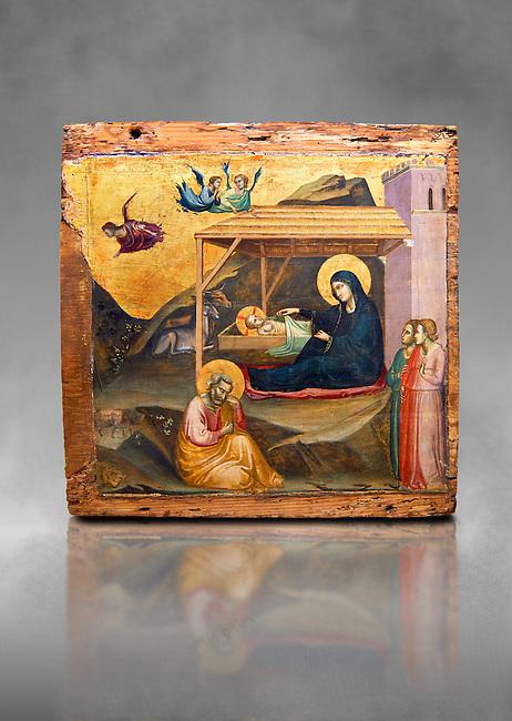 """Gothic painted panel of the Nativity scene by Taddeo Gabbi of Florence, circa 1325, tempera and gold leaf on wood. National Museum of Catalan Art, Barcelona, Spain, inv no: MNAC 212807. Against a grey art background. <br /> Taddeo Gabbi, one of Giotto's most brilliant disciples, painted this Nativity when he was still part of Giotto's workshop. The painting has many of Giotto's hallmarks such as  spatial illusionism or the reality of figures that can be seen in the nativity of the Peruzzi Chapel.<br /> <br /> SPANISH<br /> <br /> Taddeo Gabbi, uno de los discipulos mas brillantes de Giotto, debio pintar esta Natividad cuando aun formaba parte del taller del maestro. En ella se ven las conquistas de la """"revolucion giottesca"""", como el illusioismo espacial o el realismo de las figuras. Maria arropa a Jesus dentro del establo, mientras los sobrevuela un grupo de angeles. La posicion de uno de ellos y la presencia de una oveja indican que la composicion se completaba a la izquierda con el Anuncio a los pastores. En primer termino aparecen un pensativo Jose y las dos parteras que susurran, un recurso ya utilizado pr Giotto en los frescos de la Capilla Peruzzi."""
