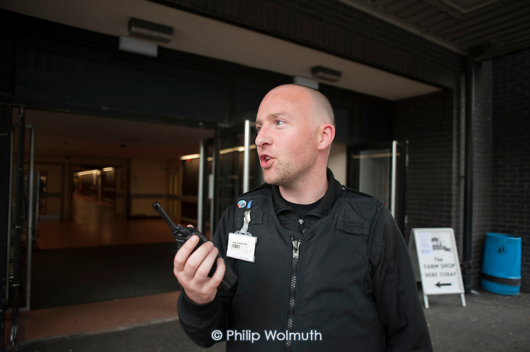 Security guards at Glasgow Royal Infirmary, where all hospital ancillary services are provided by directly employed staff.  A PFI contract with Sodexho ended in 2006 following successful industrial action over pay and conditions.  The success of the in-house services influenced the Scottish Parliament's 2008 decision to bring all hospital cleaning in Scotland in-house.