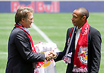 Dietmar Beiersdorfer (Head of Red Bull Global Soccer),  Thierry Henry. .Thierry Henry press conference at Red Bull Arena, Harrison, New Jersey, 07152010