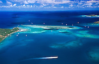 Aerial view of Blunder Bay in Gorda Sound<br /> showing Mosquito Island on the left and Neckar Island in the distance<br /> British  Virgin Islands