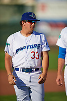 Nick Yarnall (33) of the Ogden Raptors before the game against the Orem Owlz in Pioneer League action at Lindquist Field on June 21, 2017 in Ogden, Utah. The Owlz defeated the Raptors 16-5. This was Opening Night at home for the Raptors.  (Stephen Smith/Four Seam Images)