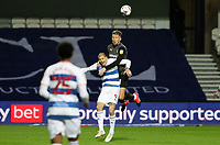 Angus MacDonald of Rotherham United and Lyndon Dykes of Queens Park Rangers go up for a header during Queens Park Rangers vs Rotherham United, Sky Bet EFL Championship Football at The Kiyan Prince Foundation Stadium on 24th November 2020