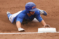 Iowa Cubs outfielder John Andreoli (6) slides in to third base during a Pacific Coast League game against the Colorado Springs Sky Sox on May 10th, 2015 at Principal Park in Des Moines, Iowa.  Iowa defeated Colorado Springs 14-2.  (Brad Krause/Four Seam Images)