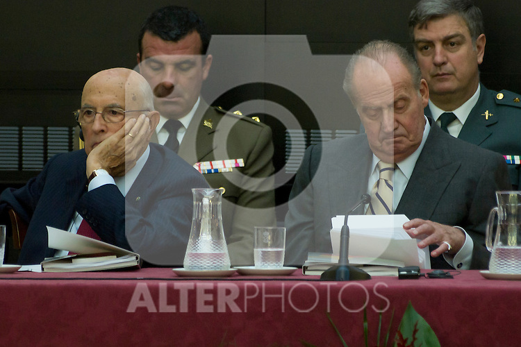 03.10.2012. VIII COTEC Europe Meeting, co-chaired by King Juan Carlos of Spain, the President of the Italian Republic, Giorgio Napolitano, and the President of the Portuguese Republic, Aníbal Cavaco Silva, at the Royal Palace of El Pardo, Madrid, Spain. In the image (Alterphotos/Marta Gonzalez)