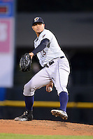 Scranton Wilkes-Barre RailRiders pitcher Dellin Betances #23 during a game against the Rochester Red Wings on June 19, 2013 at Frontier Field in Rochester, New York.  Scranton defeated Rochester 10-7.  (Mike Janes/Four Seam Images)