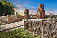 Pictures & Images of the Sphinx gate Hittite sculpture, Alaca Hoyuk (Alacahoyuk) Hittite archaeological site  Alaca, Çorum Province, Turkey,