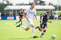 LAKE BUENA VISTA, FL - JULY 9: Kacper Przybylko #23 of the Philadelphia Union dribbles the ball during a game between New York City FC and Philadelphia Union at Wide World of Sports on July 9, 2020 in Lake Buena Vista, Florida.