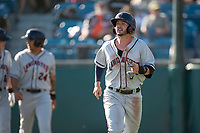 Lancaster JetHawks center fielder Forrest Wall (7) jogs to the dugout after scoring a run during a California League game against the San Jose Giants at San Jose Municipal Stadium on May 12, 2018 in San Jose, California. Lancaster defeated San Jose 7-6. (Zachary Lucy/Four Seam Images)