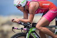 Michelle Vesterby on the bike at the 2013 Ironman World Championship in Kailua-Kona, Hawaii on October 12, 2013.