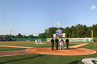 General view during the national anthem during a Jackson Generals game against the Chattanooga Lookouts on April 29, 2017 at The Ballpark at Jackson in Jackson, Tennessee.  Jackson defeated Chattanooga 7-4.  (Mike Janes/Four Seam Images)