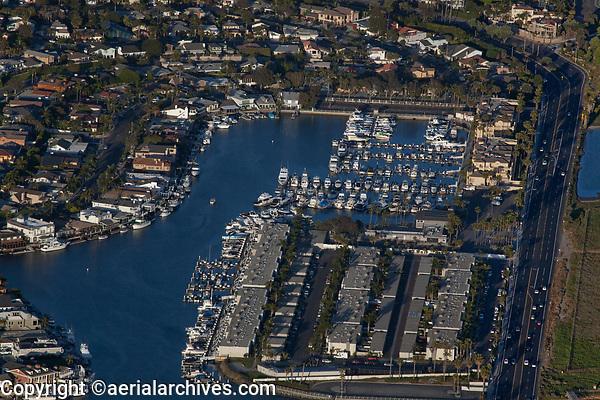 aerial photograph of Huntington Harbor Marina,  Sunset Beach, Orange County, California
