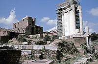 Temple of Vesta during renovations, Roman Forum, Rome, Italy