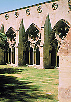 Cloister Garden at Salisbury Cathedral in Salisbury, England. The arcaded cloister is the largest in England (58m x 190ft square) and was added in the late 13th century.