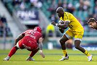 22nd May 2021; Twickenham, London, England; European Rugby Champions Cup Final, La Rochelle versus Toulouse; Raymond Rhule of La Rochelle is tackled by Pita Ahki of Toulouse