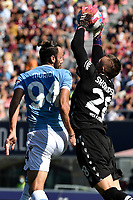 Vedat Muriqi of SS Lazio and Lukasz Skorupski of Bologna FC during the Serie A football match between Bologna FC and SS Lazio at Renato Dall'Ara stadium in Bologna (Italy), October 3rd, 2021. Photo Andrea Staccioli / Insidefoto