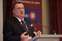 Montreal (Qc) CANADA -Nov 16 2009-<br /> YVES DEVIN, DIRECTOR GENERAL OF THE SOCIeTe DE TRANSPORT DE<br />                MONTReAL, AT THE CANADIAN CLUB OF MONTREAL'S PODIUM