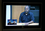 O.J. Simpson, in custody at the Lovelock Correctional Center, appears before the Nevada Board of Parole via video conference, in Carson City, Nev., on Thursday, July 25, 2013. <br /> Photo by Cathleen Allison