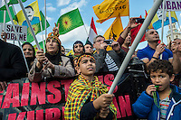 British Kurds fill Trafalgar square in Solidarity with the Kurdish Syrian town of Kobane which is under seige by the Islamist ISIL group. They were also protesting against the actions of Turkey and the inaction of countrys like Britain. 1-11-14