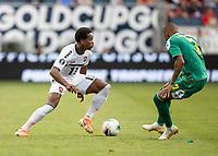 KANSAS CITY, KS - JUNE 26: Keanu Marsh-Brown #7 defends against Levi Garcia #11 during a game between Guyana and Trinidad