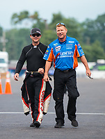Aug 19, 2018; Brainerd, MN, USA; NHRA top fuel driver Steve Torrence (left) and funny car driver Jim Campbell during the Lucas Oil Nationals at Brainerd International Raceway. Mandatory Credit: Mark J. Rebilas-USA TODAY Sports
