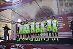 Bardiani-CSF team on the podium at sign on before the start of the Strade Bianche Eroica Pro 2015 cycle race 200km over the white gravel roads from San Gimignano to Siena, Tuscany, Italy. 8th March 2015<br /> Photo: Otto de Waele/www.newsfile.ie