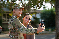 Happy US Army soldier and his wife, model-released, stock photo, DoD compliant, for sale, for advertising