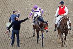 LOUISVILLE, KY - MAY 07: Mario Gutierrez, aboard Nyquist #13, is congratulated by American Pharoah's assistant trainer Jimmy Barnes and exercise rider Georgie Alvarez after winning the Kentucky Derby Stakes on May 7, 2016 in Louisville, Kentucky. (Photo by Jon Durr/Eclipse Sportswire/Getty Images)