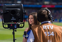 PARIS,  - JUNE 16: Alex Curry films a segment during a game between Chile and USWNT at Parc des Princes on June 16, 2019 in Paris, France.