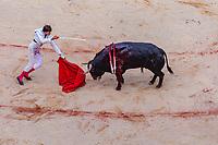 "europe,spain,navarra,Pamplona,matador Andrés Roca Rey on ""stercio de muerte"""