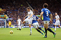 Liverpool, UK. Saturday 01 November 2014<br /> Pictured L-R: Angel Rangel of Swansea challenged by Ross Barkley of Everton. <br /> Re: Premier League Everton v Swansea City FC at Goodison Park, Liverpool, Merseyside, UK.