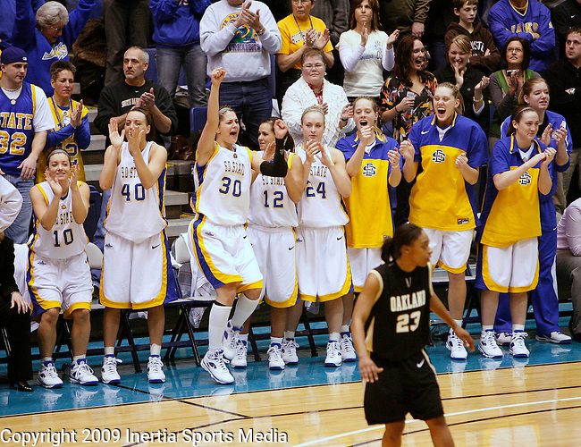 SIOUX FALLS, SD - MARCH 10:   The South Dakota State bench reacts as the clock winds down as they win the Summit League Championship over Oakland University Tuesday afternoon at the Sioux Falls Arena. (Photo by Dick Carlson/Inertia)