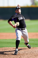 Colorado Rockies minor league pitcher Michael Mason #5 during an instructional league game against the San Francisco Giants at the Salt River Flats Complex on October 4, 2012 in Scottsdale, Arizona.  (Mike Janes/Four Seam Images)