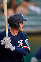 Eric Campbell (36) of the Tacoma Rainiers waits to bat against the Salt Lake Bees at Smith's Ballpark on May 13, 2021 in Salt Lake City, Utah. The Rainiers defeated the Bees 15-5. (Stephen Smith/Four Seam Images)