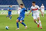 v.li.: Andrej Kramaric (Hoffenheim, 27), Marc Oliver Kempf (VfB, 4), Zweikampf, Spielszene, Duell, duel, tackle, tackling, Dynamik, Action, Aktion, 21.11.2020, Sinsheim  (Deutschland), Fussball, Bundesliga, TSG 1899 Hoffenheim - VfB Stuttgart, DFB/DFL REGULATIONS PROHIBIT ANY USE OF PHOTOGRAPHS AS IMAGE SEQUENCES AND/OR QUASI-VIDEO. <br /> <br /> Foto © PIX-Sportfotos *** Foto ist honorarpflichtig! *** Auf Anfrage in hoeherer Qualitaet/Aufloesung. Belegexemplar erbeten. Veroeffentlichung ausschliesslich fuer journalistisch-publizistische Zwecke. For editorial use only.