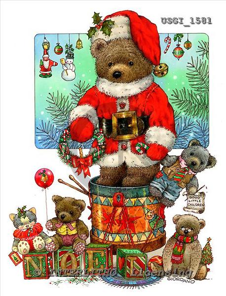 GIORDANO, CHRISTMAS ANIMALS, WEIHNACHTEN TIERE, NAVIDAD ANIMALES, Teddies, paintings+++++,USGI1581,#XA#