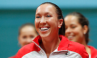 Serbia's player Jelena Jankovic, smile, during the World Group play-off Fed Cup match in Bratislava, Slovakia, Saturday, Apr. 16, 2011. (Srdjan Stevanovic/Starsportphoto ©).