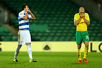 29th December 2020; Carrow Road, Norwich, Norfolk, England, English Football League Championship Football, Norwich versus Queens Park Rangers; Yoann Barbet of Queens Park Rangers and Teemu Pukki of Norwich City react after Bright Osayi-Samuel misses an open goal