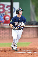 Elizabethton Twins third baseman Trey Cabbage (45) swings at a pitch during game against the Burlington Royals at Joe O'Brien Field on August 24, 2016 in Elizabethton, Tennessee. The Royals defeated the Twins 8-3. (Tony Farlow/Four Seam Images)
