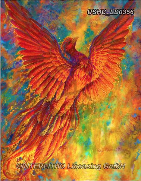 Liz,REALISTIC ANIMALS,Phönix,fire,dragon,fantasy,  REALISTISCHE TIERE, ANIMALES REALISTICOS, LizDillon, paintings+++++,USHCLD0356,#A#, EVERYDAY