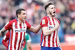 Atletico de Madrid's Saul Niguez (r) and Angel Correa celebrate goal during La Liga match. February 6,2016. (ALTERPHOTOS/Acero)