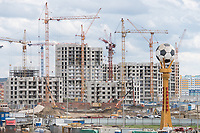 25th October 2017, Sardansk, Russia; View of the construction site of the Mordovia Arena in Sardansk, Russia, 25 August 2017. The city is one of the playing sites for the FIFA World Cup 2018 in Russia.