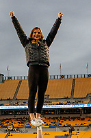 Boston College Eagles cheerleader. The Boston College Eagles defeated the Pitt Panthers 26-19 in the football game played at Heinz Field, Pittsburgh Pennsylvania on November 30, 2019.